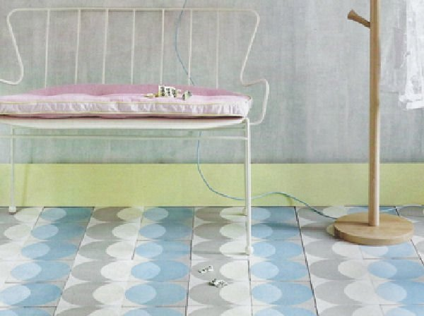 blue and grey circle floor tiles by Lindsey Lang in room setting
