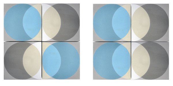 blue and grey circle floor tiles by Lindsey Lang
