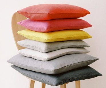 linen cushions in bright contemporary colours