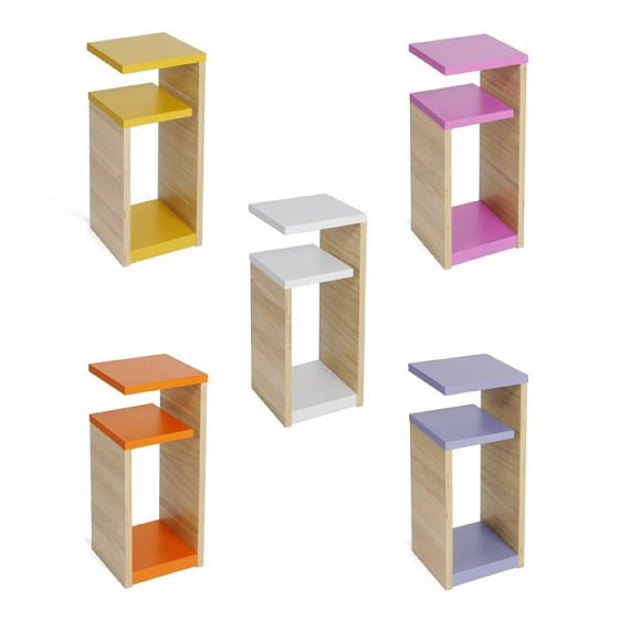 GG Shelves side tables with storage in yellow, pink, white, orange or purple