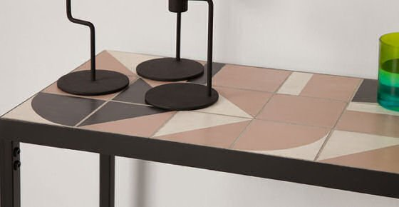 MADE Vitti console table detail with pink and black tiles and black metal frame