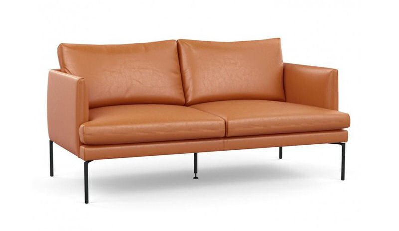 Heal's Matera contemporary leather sofa for small spaces in tan