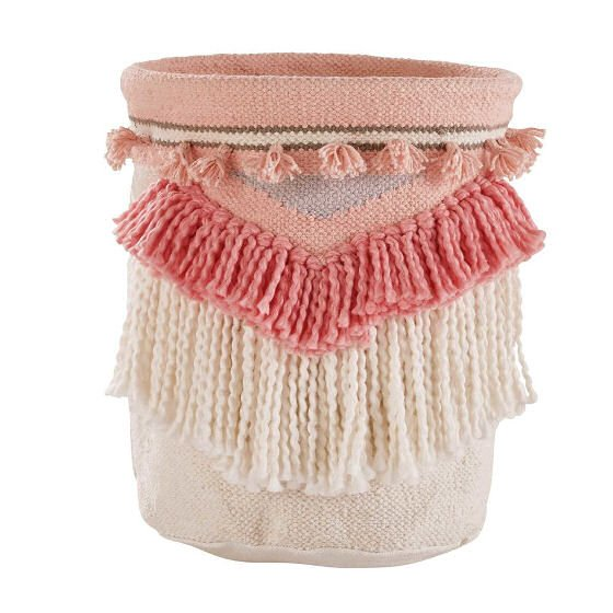 Pink and White Fringed Storage Basket