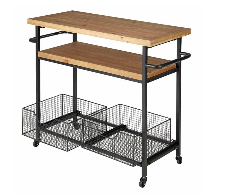 Industrial freestanding kitchen island for small spaces with wheels and storage