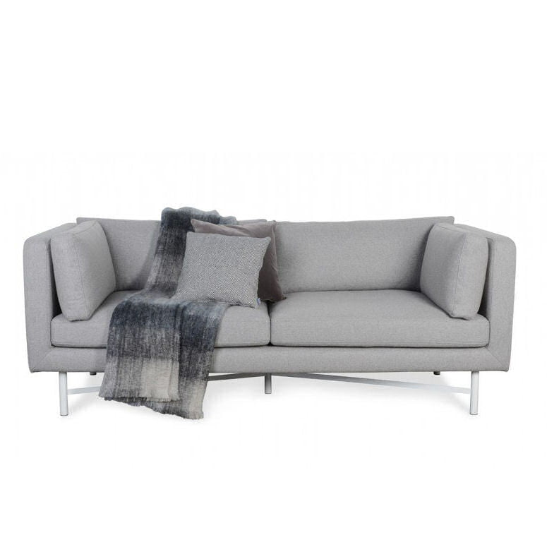 Heal's Dodie grey fabric sofa with grey cushions and grey cheked throw