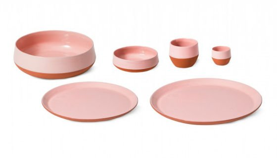 Petite Friture Join Dinnerware in pink and terracotta