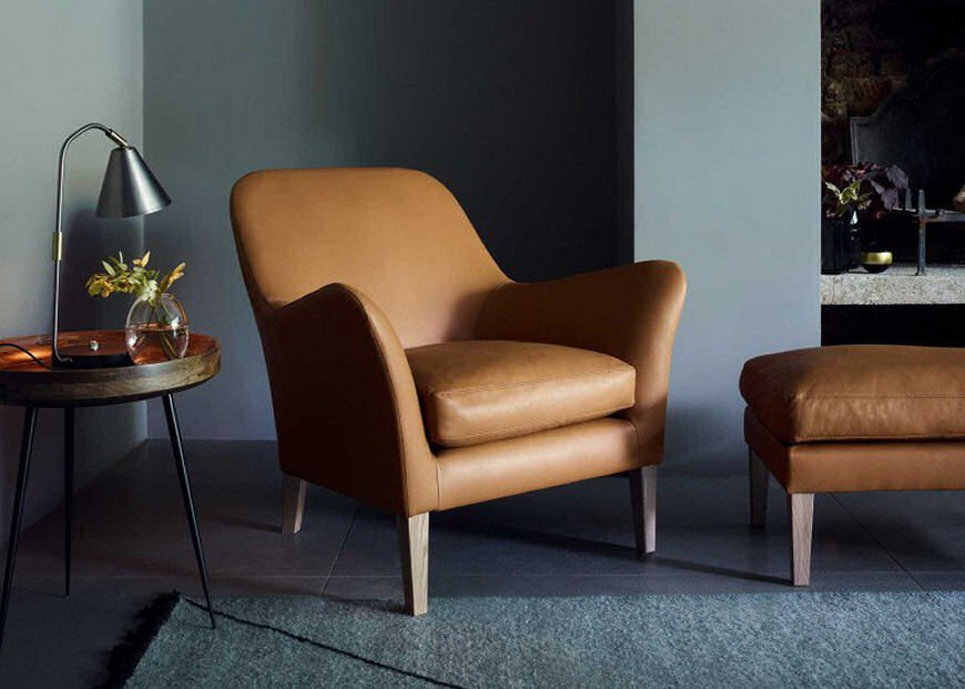 Wallis compact leather armchair for small spaces by Russell Pinch for Heal's