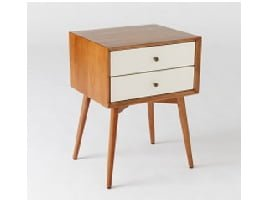 West Elm Mid-Century Bedside Table in wood and white