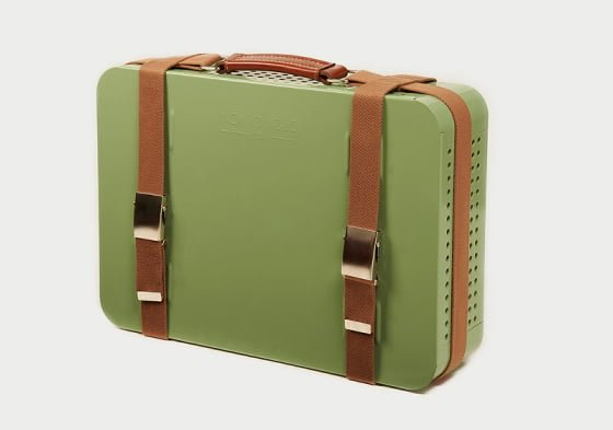 RS Barcelona Mon Oncle green portable barbecue with tan leather straps
