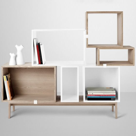 Muuto Stacked modular storage for small spaces in ash and white