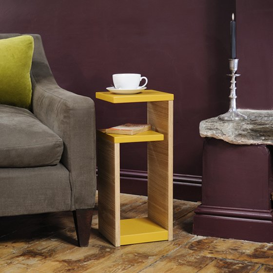 Coucou Manou GG side table with storage in yellow and natural wood