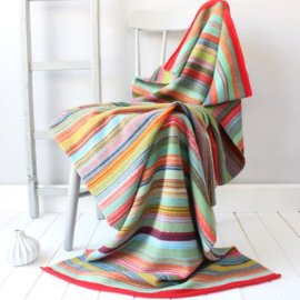 Gabrielle Vary multicoloured Bombay Striped knitted lambswool throw