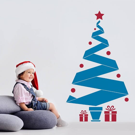 Blue and red Christmas Tree Wall Sticker with small girl in santa hat