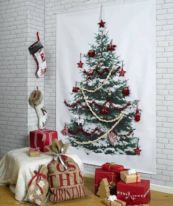 Spruce tree photographic alternative Christmas Tree Wall Hanging with presents and stockings