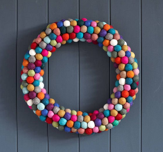 Christmas Wreath made from multicoloured felt balls