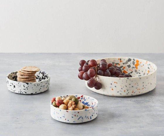handmade porcelain terrazzo bowls by Sevak Zargarian
