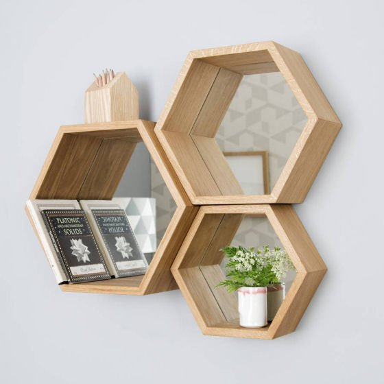 Set of 3 solid wood hexangonal mirror shelves