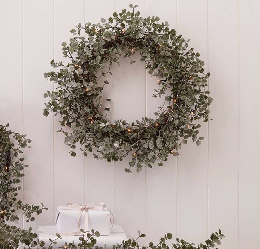 Contemporary pre-lit Christmas wreath made from eucaplyptus with fairy lights