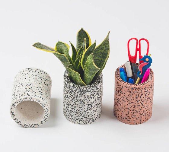 Cylindrical Terrazzo Pots by Daniela Rubino
