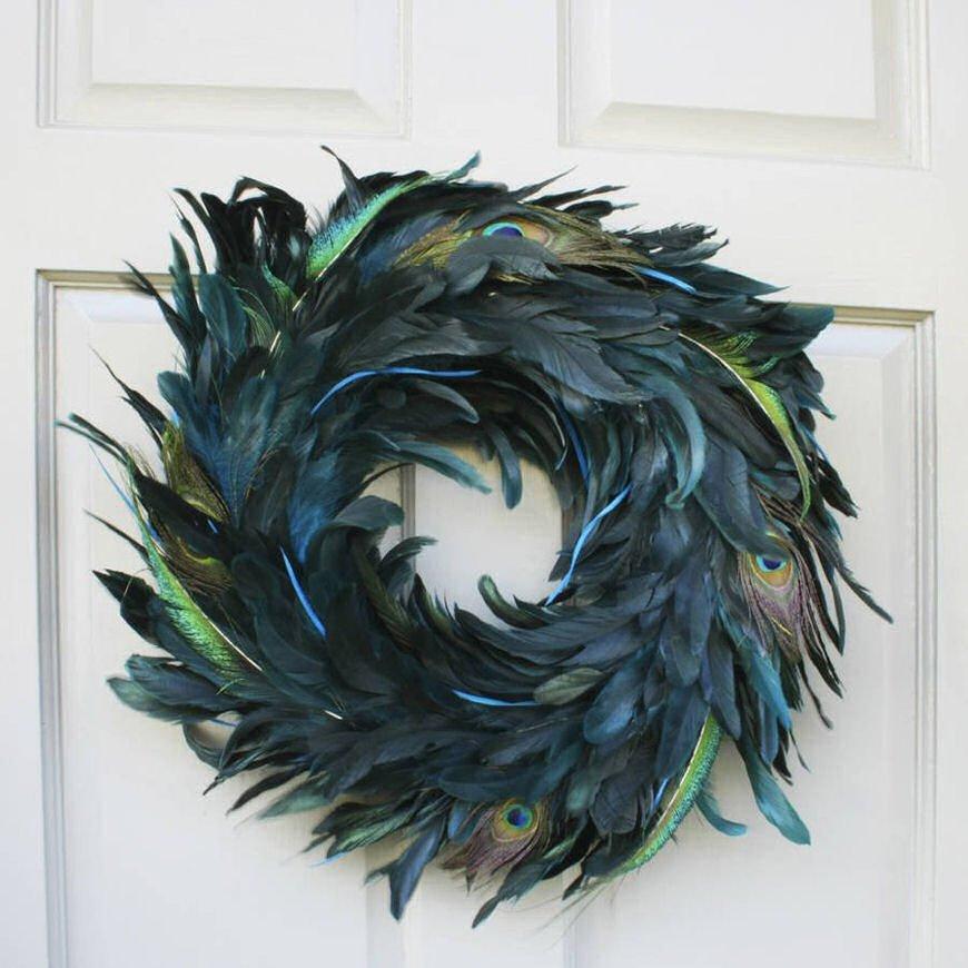Luxury Peacock Feather Christmas Door Wreath