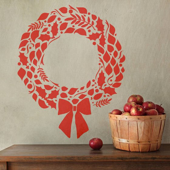 Red Christmas wreath wall sticker