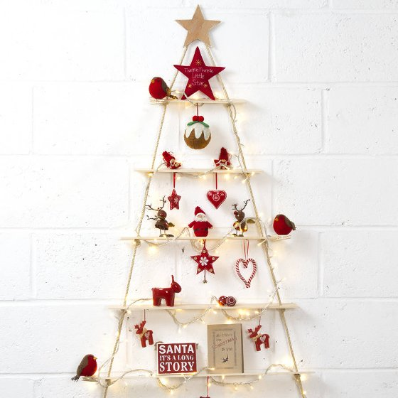 Rope Ladder Alternative Christmas Tree with red decorations and fairly lights