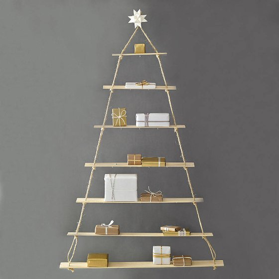 Rope ladder alternative contemporary Christmas Trees with gold and white presents