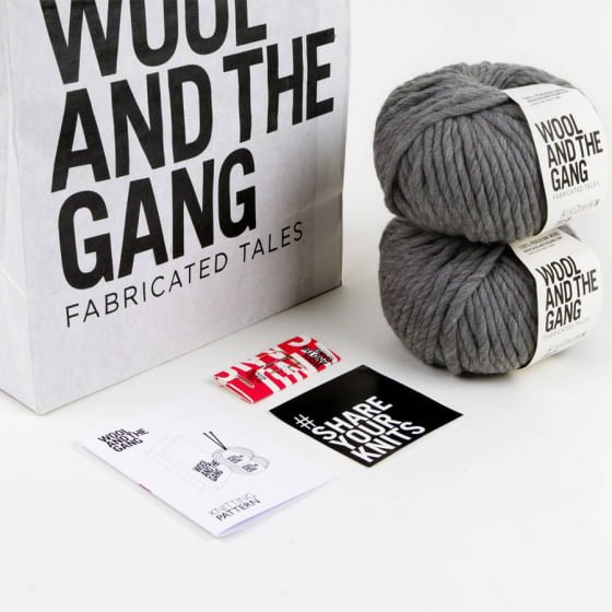 Wool and the Gang knitting kit with grey wool