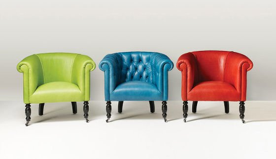 Oxford Tub Chair By Fleming Howland In Apple Green, Blue, And Bright Red