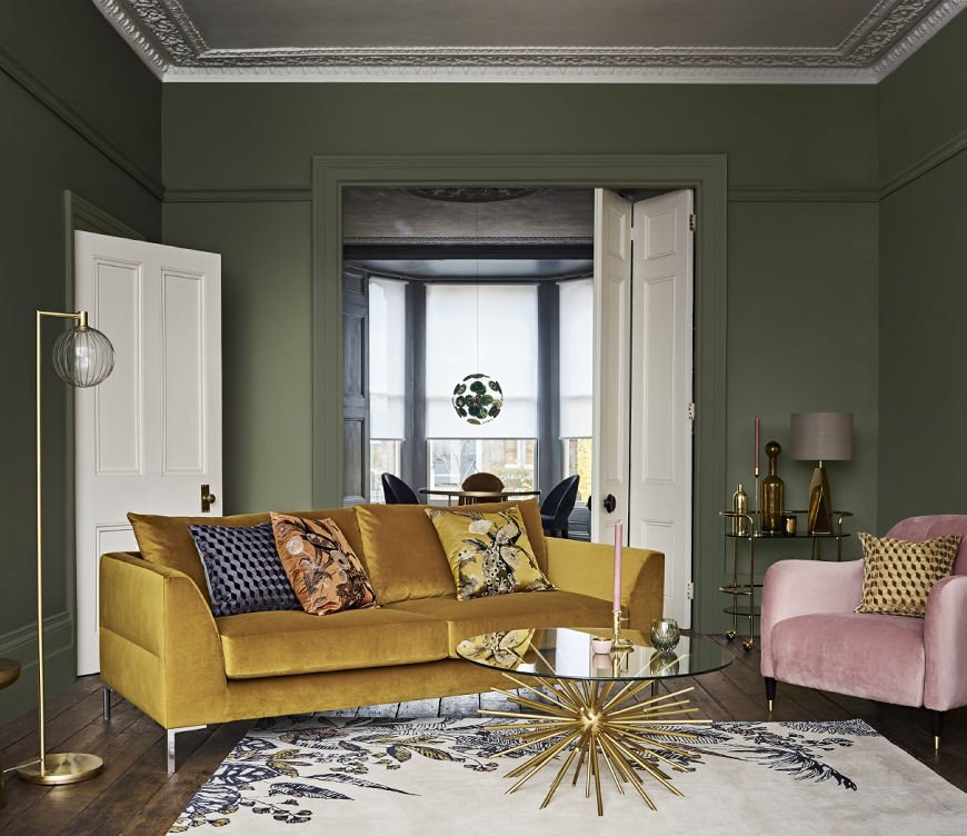 Palazzo Collection from John Lewis & Partners with yellow velvet sofa, pink velvet armchair and brass lamp and coffee table