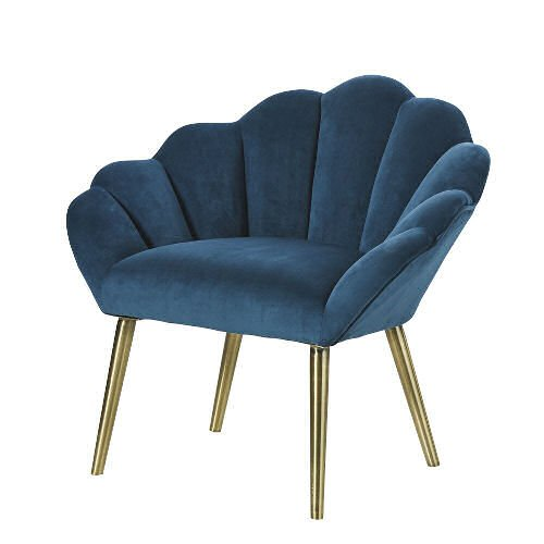 Blue velvet vintage-style accent chair from Maisons du Monde