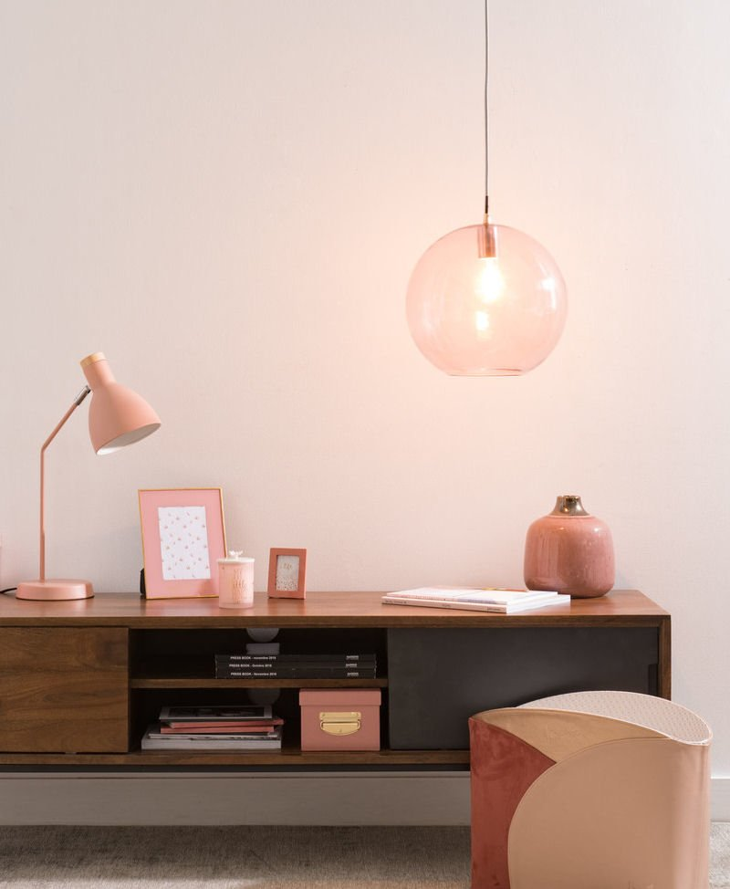 pink coloured glass pendant light from Maisons du Monde