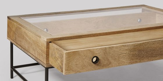 Detail of Plato industrial style coffee table with storage and glass top