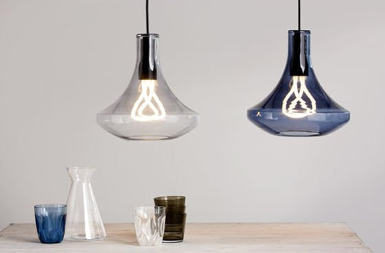 coloured glass pendant lights in smoke grey and blue with Plumen light bults