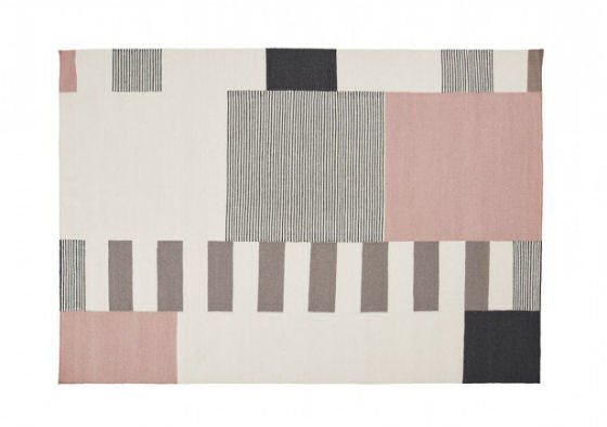 Grey, taupe, cream and pink Graphic Wool Rug in Powder by Linie Design