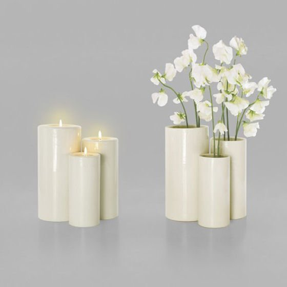 3 white candle holders and vases by RALLI Design
