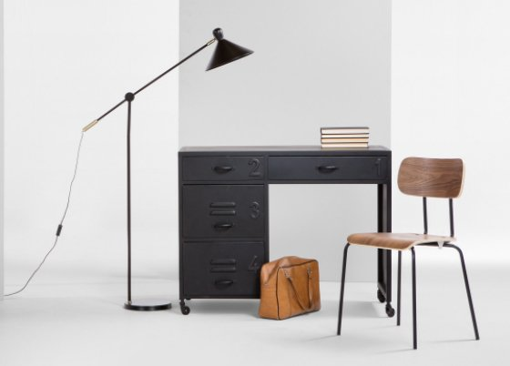 Black metal Rankin Desk from MADE with black lamp and wooden chair and leather bag