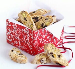 Christmas Biscotti in festive packaging