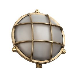 Round Bulkhead Outdoor Light with Brass Finish