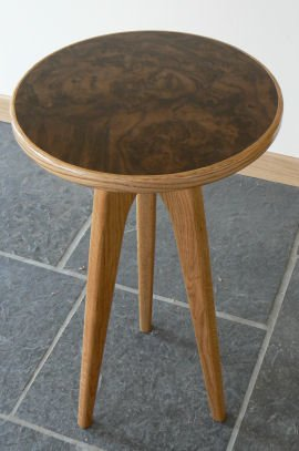 Round burr walnut table by Kevin Gauld, the Orkney Furniture Maker
