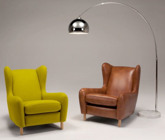 Made.com's Rubens armchairs for small spaces in green wool and cognac leather