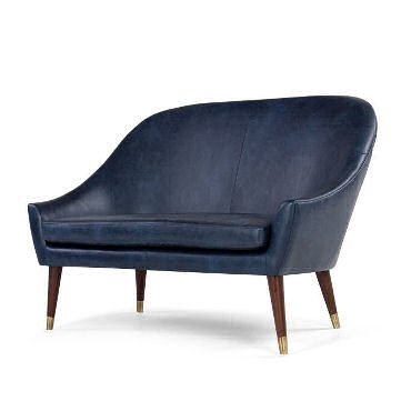Blue leather Seattle sofa from MADE