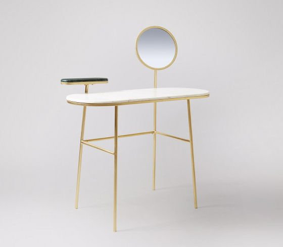 Senzo marble and brass dressing table for small spaces