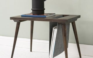 Side table with storage sling for magazine