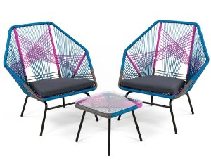 colourful garden furniture - outdoor lounge chairs and small outdoor table