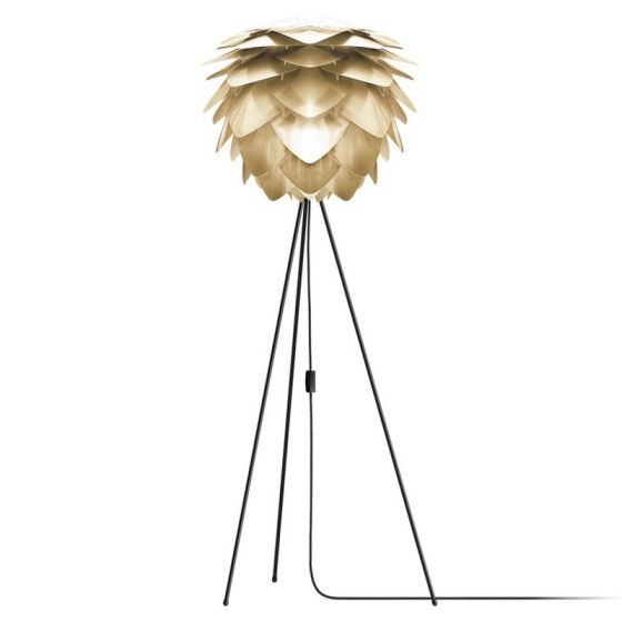 Vita Silvia floor lamp with brass Silvia shade and black tripod