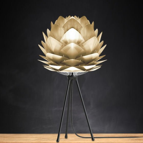 Vita Silvia table lamp with small Silvia brass light shade and black tripod lamp base