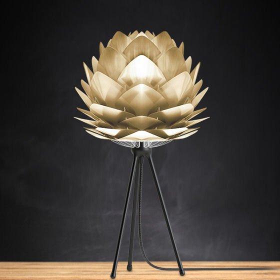 Vita Silvia table lamp with small Silvia brass light shade and black tripod lamp base