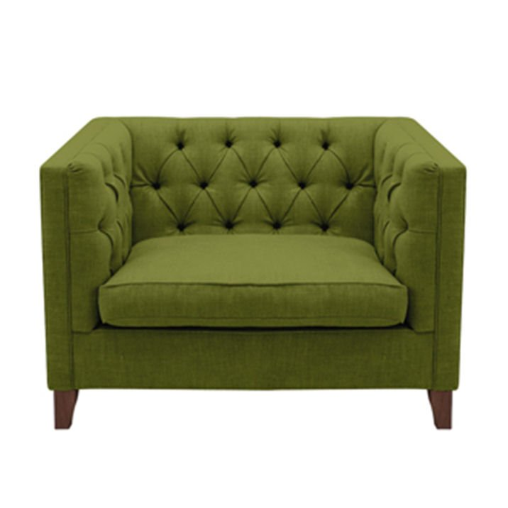 Sofas and Stuff green snuggler contemporary armchair with buttoned back