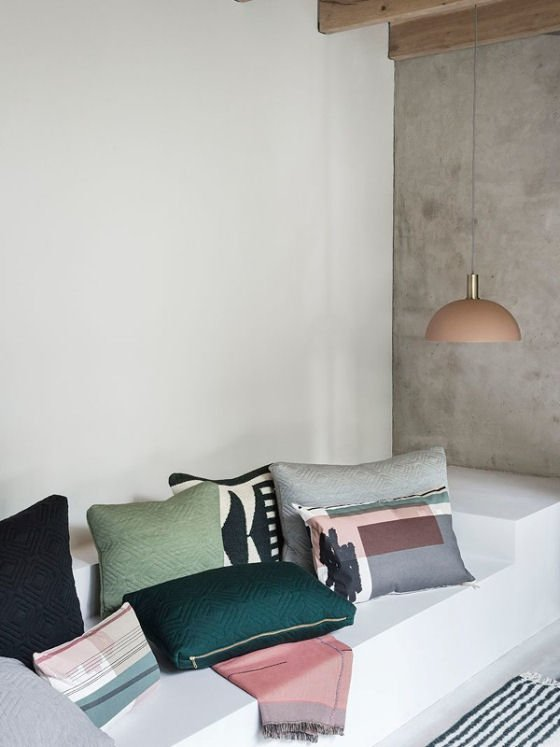 Ferm Living Collect Lighting contemporary pendant light in blush pink and brass with Ferm Living cushions